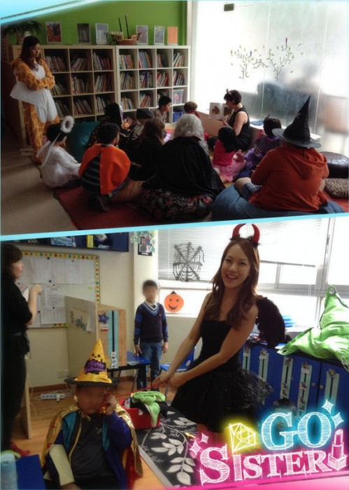 The teachers are reading stories and having fun with both international and Chinese kids